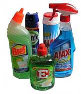 Photo of chemical-laden cleaning products that may create health problems and a need for a cleansing enema in Toronto.